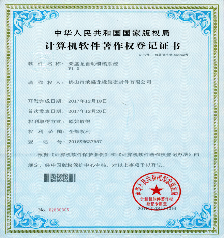 Rong Sheng Long Rubber Seals-Congratulations to our company for winning six national certificates   -5